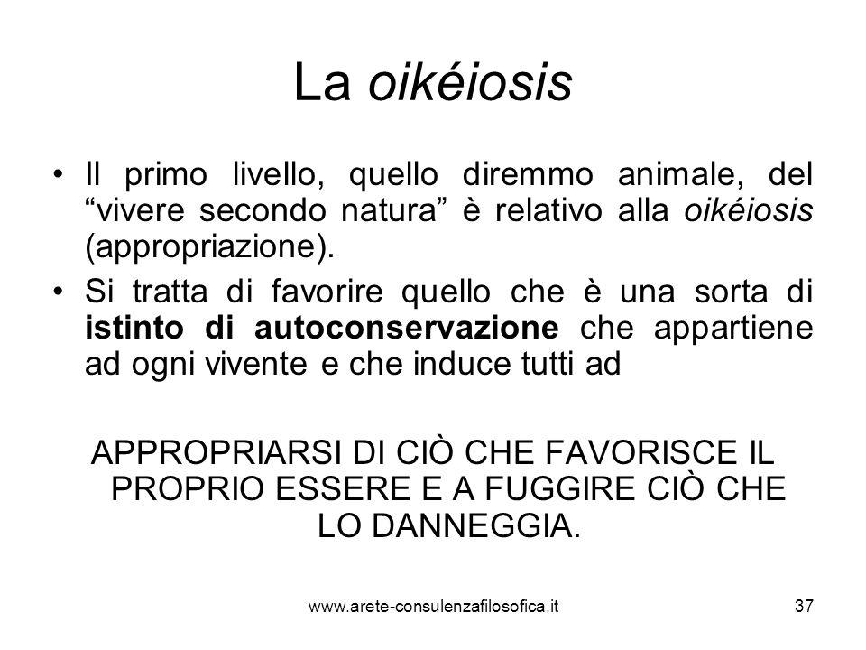 La oikéiosis Il primo livello, quello diremmo animale, del vivere secondo natura è relativo alla oikéiosis (appropriazione).