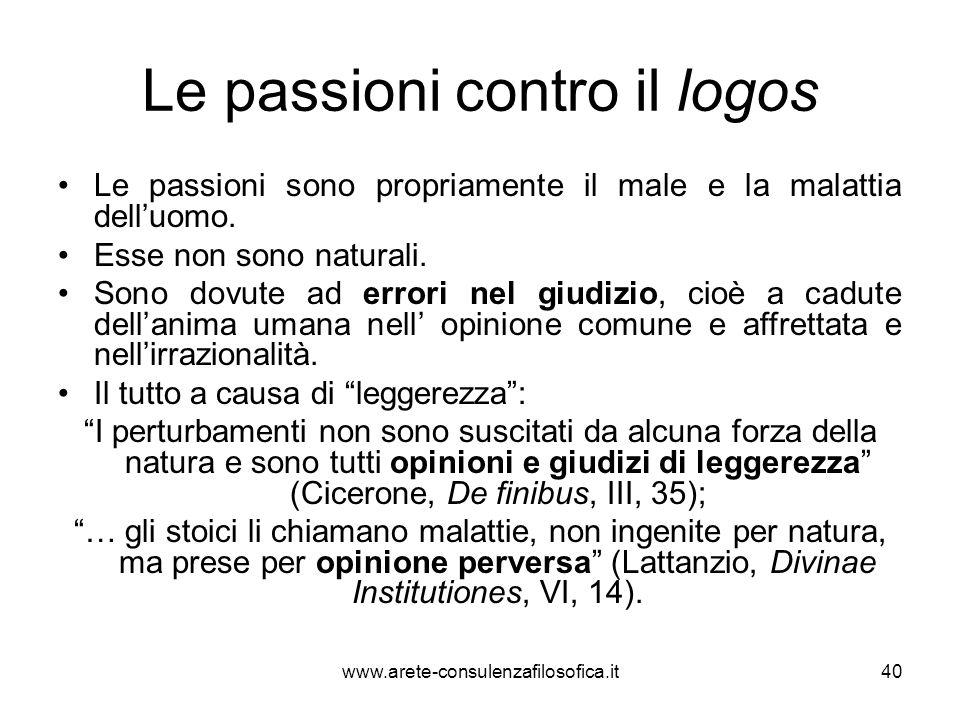 Le passioni contro il logos
