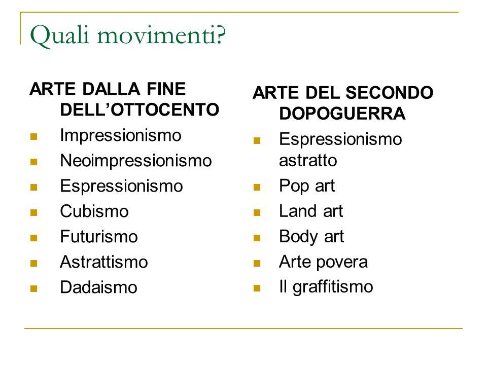 Quali movimenti ARTE DALLA FINE DELL'OTTOCENTO