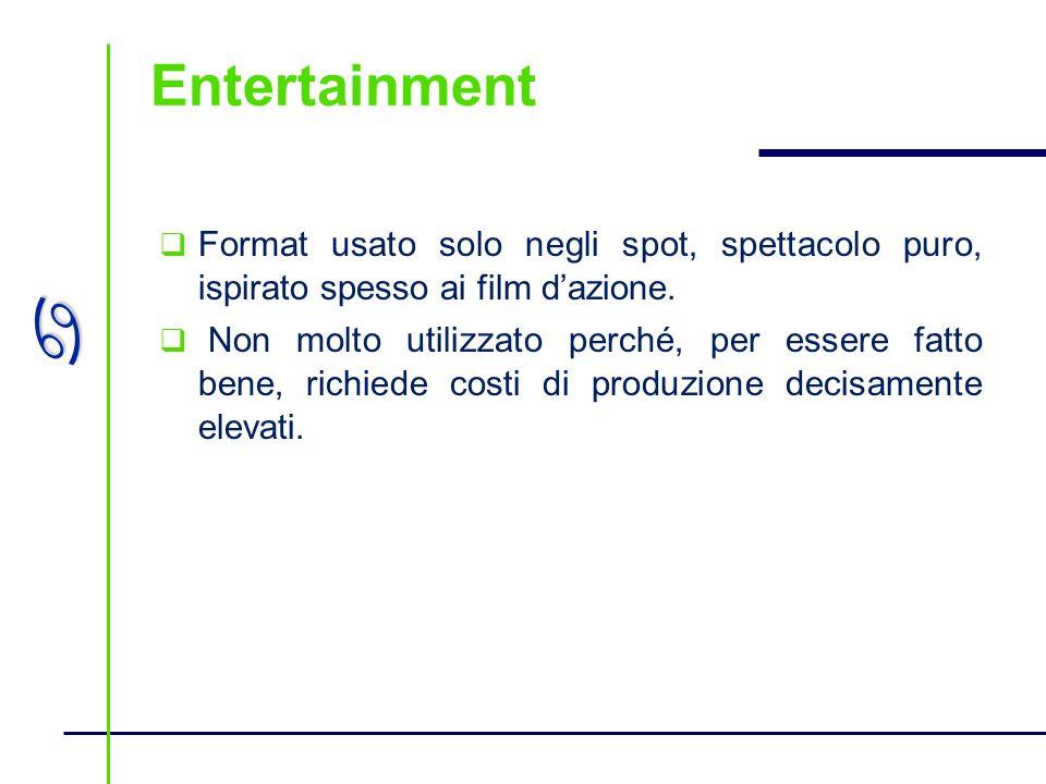 Entertainment Format usato solo negli spot, spettacolo puro, ispirato spesso ai film d'azione.