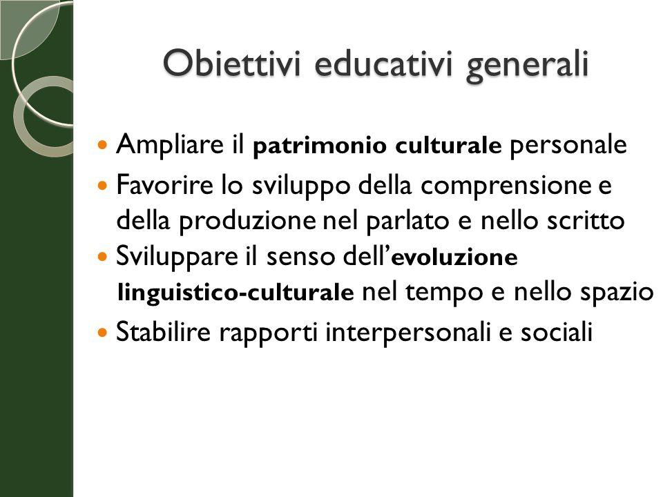Obiettivi educativi generali