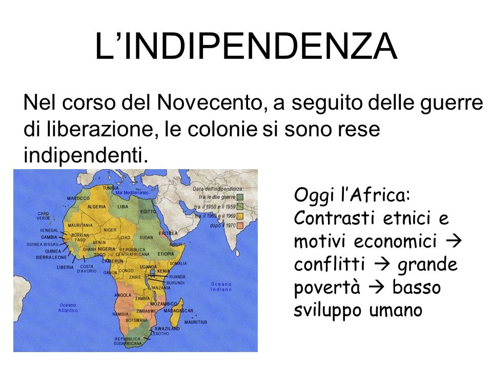 L'INDIPENDENZA Nel corso del Novecento, a seguito delle guerre di liberazione, le colonie si sono rese indipendenti.