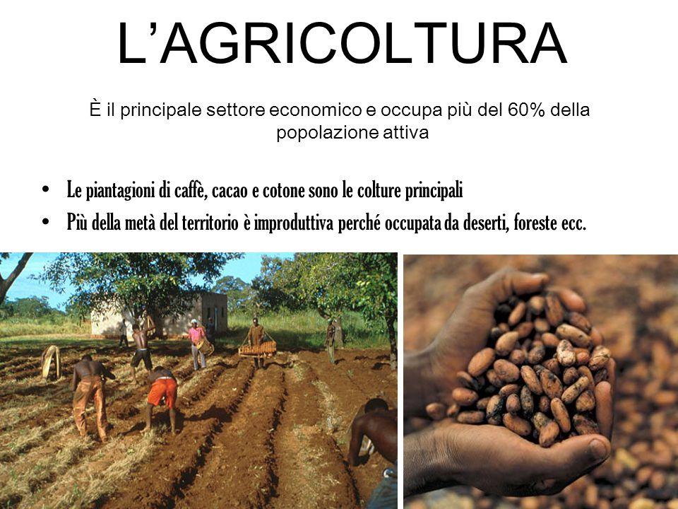 L'AGRICOLTURA È il principale settore economico e occupa più del 60% della popolazione attiva.