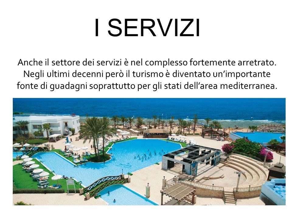 I SERVIZI Anche il settore dei servizi è nel complesso fortemente arretrato. Negli ultimi decenni però il turismo è diventato un'importante.