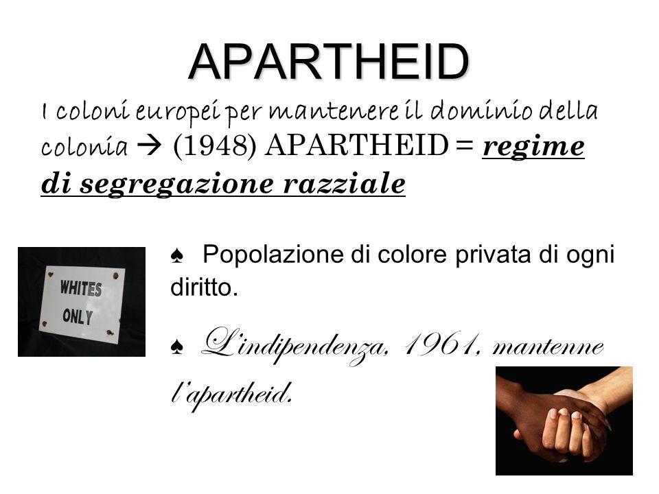 APARTHEID I coloni europei per mantenere il dominio della colonia  (1948) APARTHEID = regime di segregazione razziale.