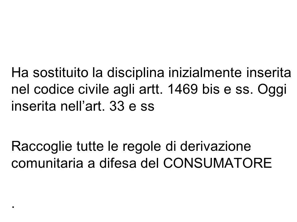 d.lgs. 206/2005 CODICE DEL CONSUMO