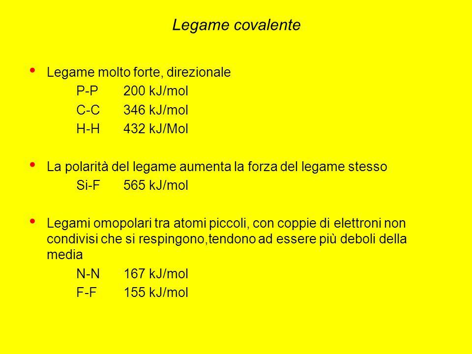 Legame covalente Legame molto forte, direzionale P-P 200 kJ/mol