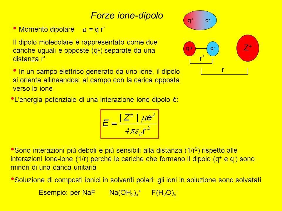 Forze ione-dipolo Z+ r' r Momento dipolare  = q r'