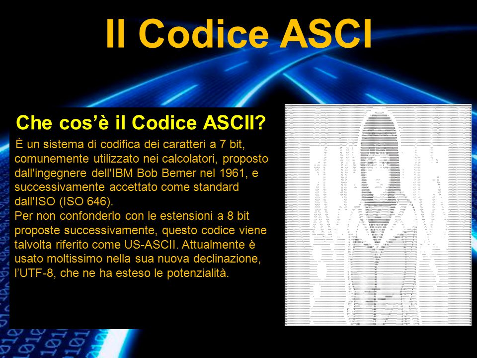 Il Codice ASCI Che cos'è il Codice ASCII