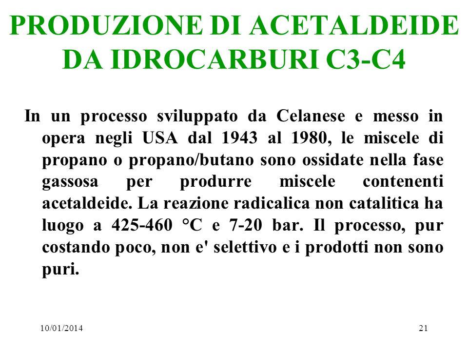 PRODUZIONE DI ACETALDEIDE DA IDROCARBURI C3-C4