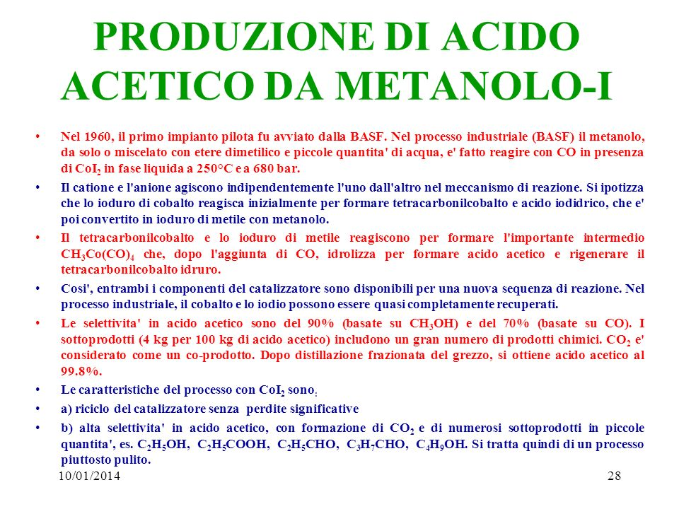 PRODUZIONE DI ACIDO ACETICO DA METANOLO-I
