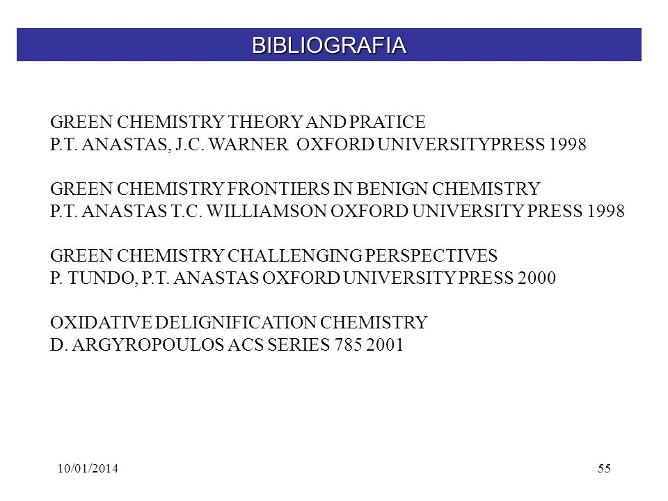 BIBLIOGRAFIA GREEN CHEMISTRY THEORY AND PRATICE