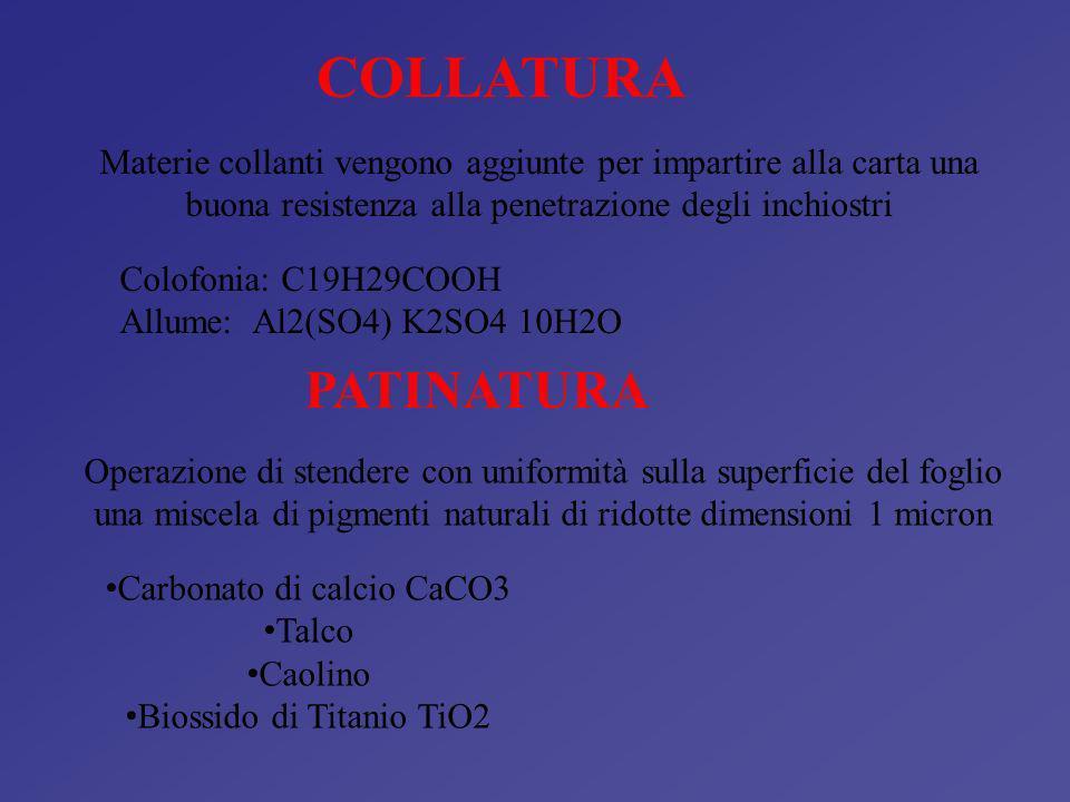COLLATURA Materie collanti vengono aggiunte per impartire alla carta una buona resistenza alla penetrazione degli inchiostri.
