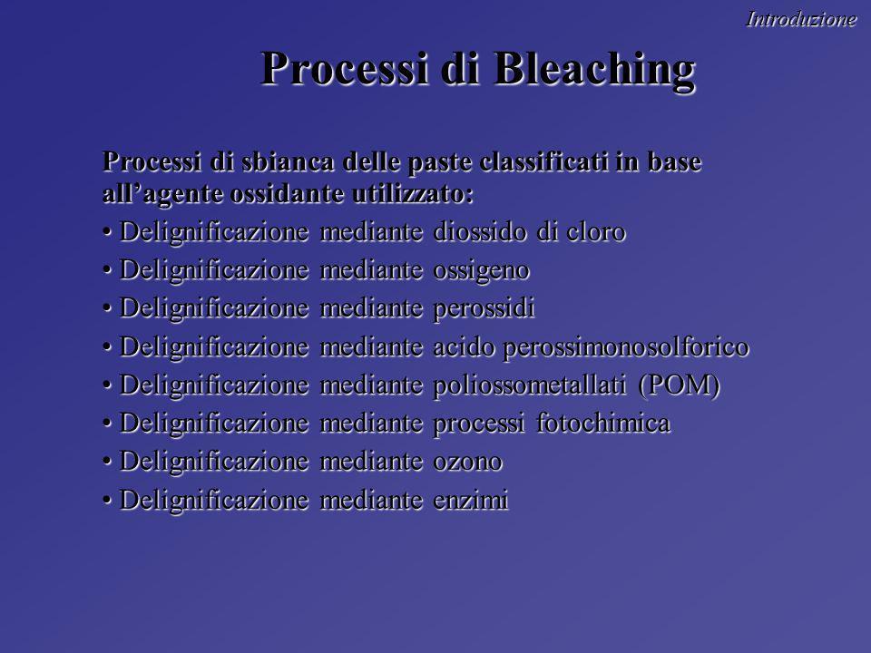 Introduzione Processi di Bleaching. Processi di sbianca delle paste classificati in base all'agente ossidante utilizzato: