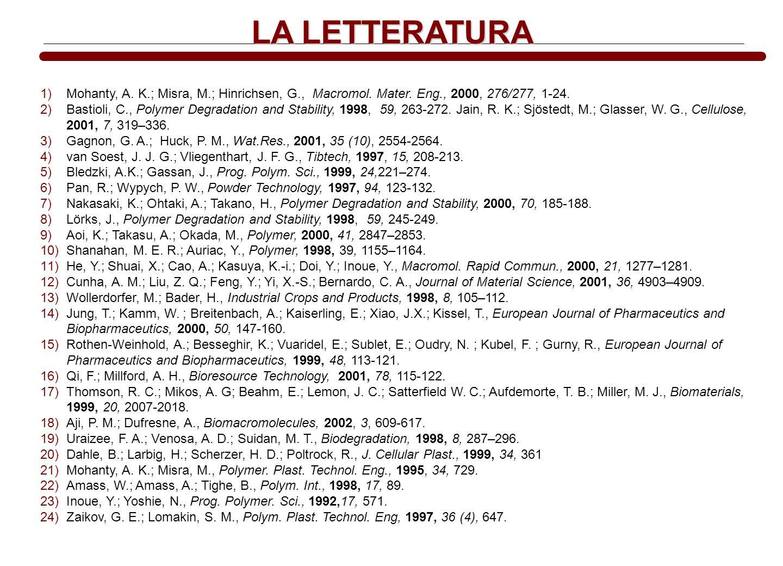 LA LETTERATURA Mohanty, A. K.; Misra, M.; Hinrichsen, G., Macromol. Mater. Eng., 2000, 276/277, 1-24.