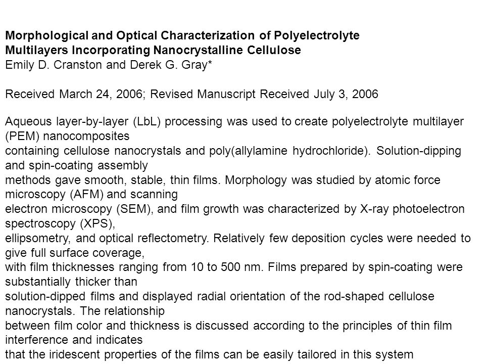 Morphological and Optical Characterization of Polyelectrolyte