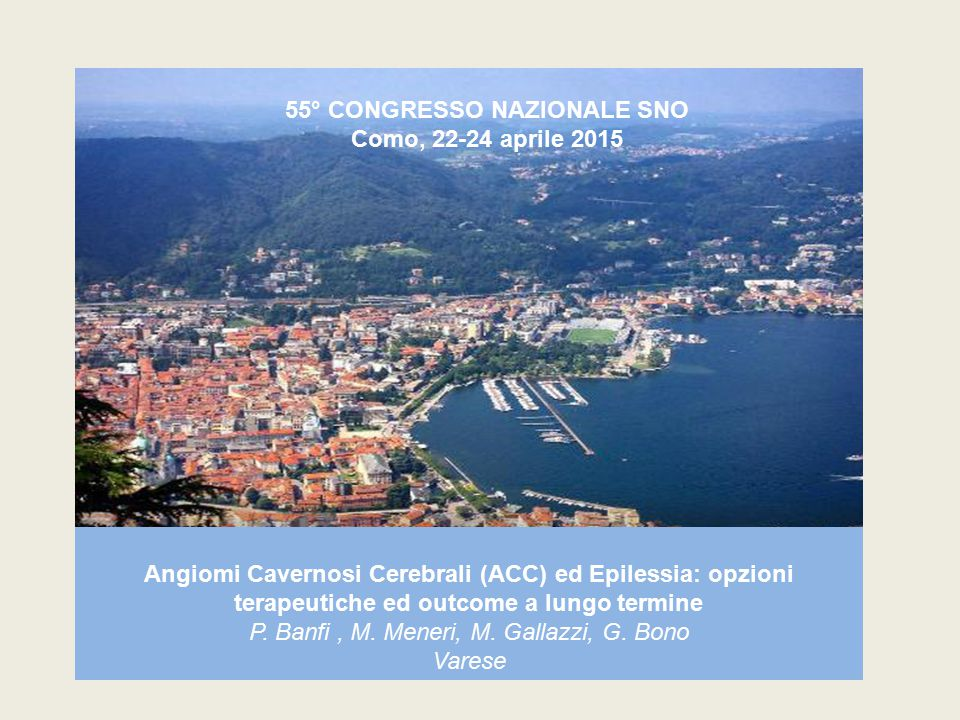 55° CONGRESSO NAZIONALE SNO Como, 22-24 aprile 2015