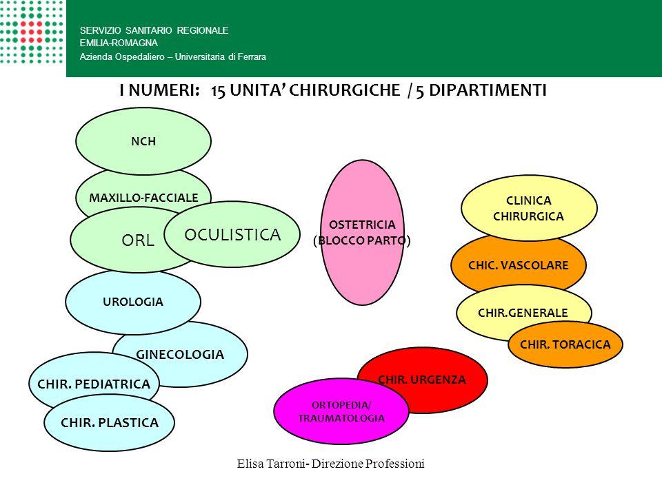 I NUMERI: 15 UNITA' CHIRURGICHE / 5 DIPARTIMENTI