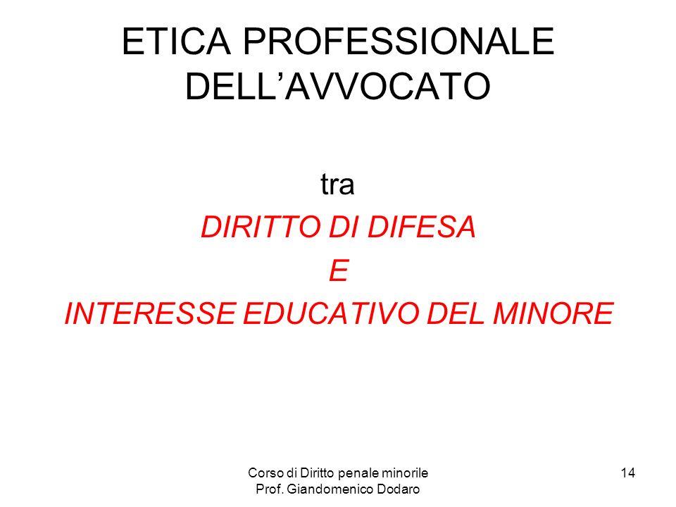 ETICA PROFESSIONALE DELL'AVVOCATO