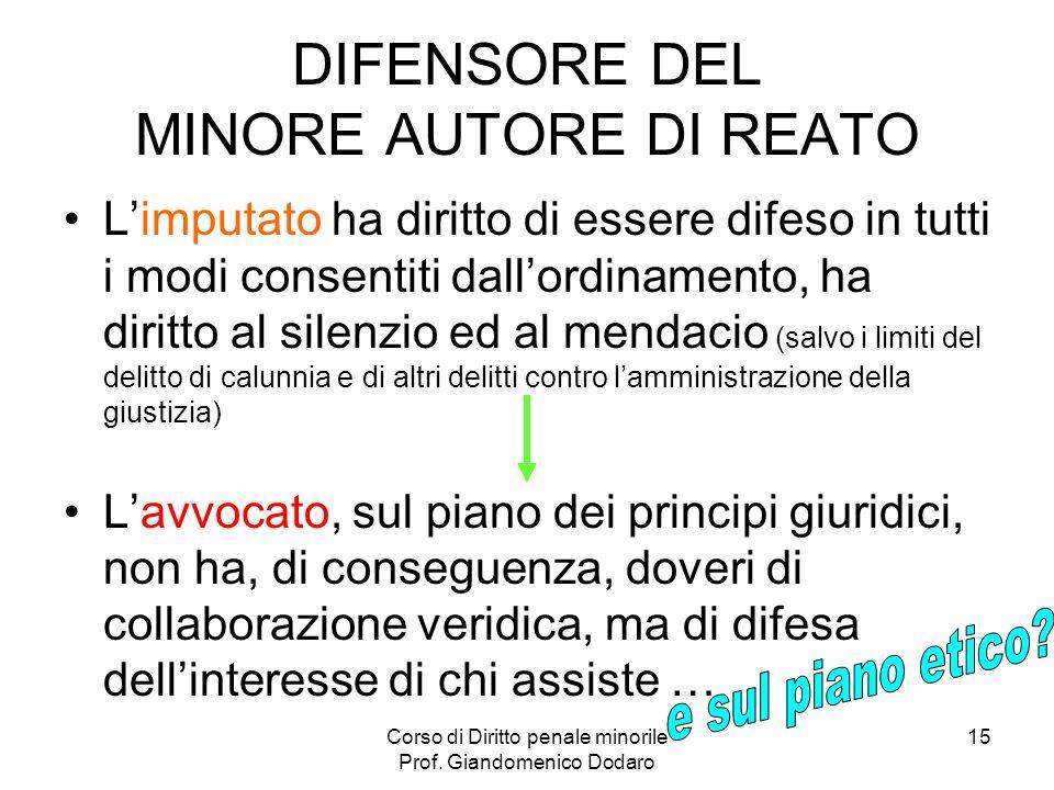 DIFENSORE DEL MINORE AUTORE DI REATO