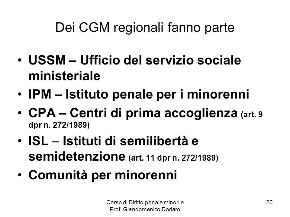 Dei CGM regionali fanno parte