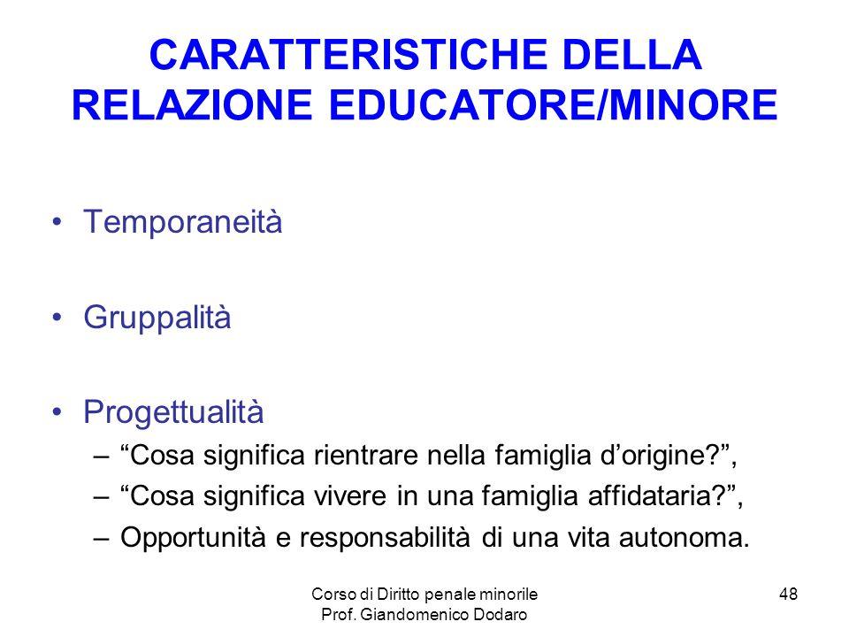 CARATTERISTICHE DELLA RELAZIONE EDUCATORE/MINORE