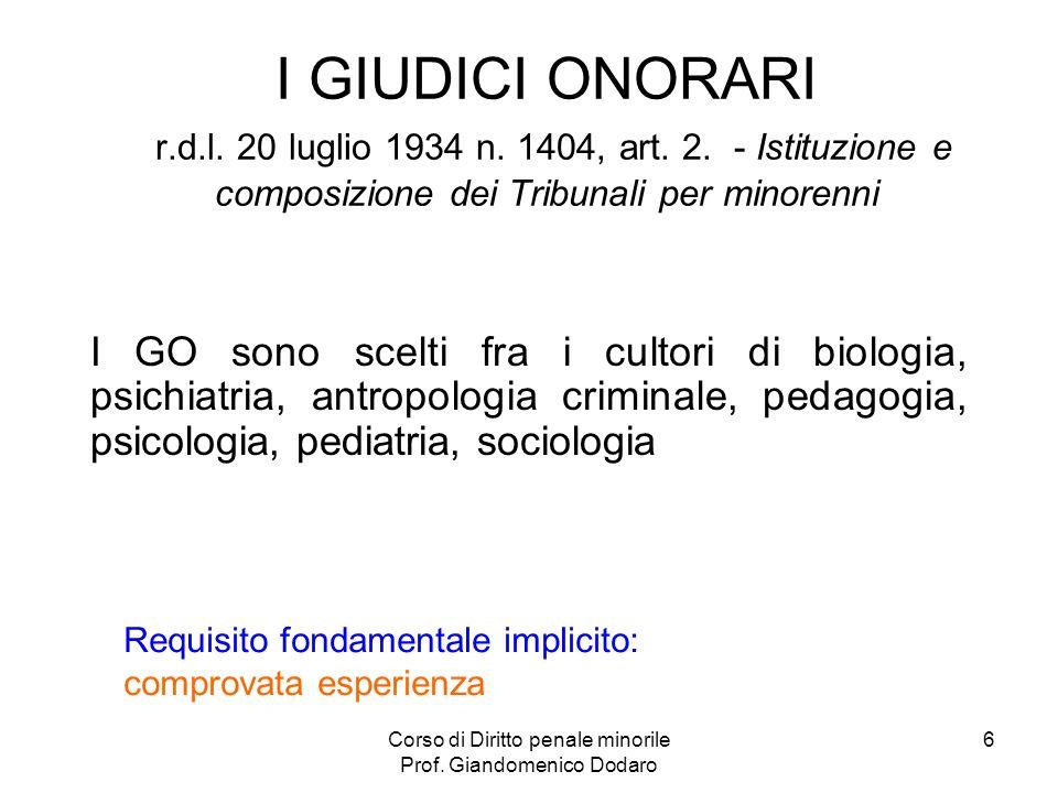 Corso di Diritto penale minorile Prof. Giandomenico Dodaro