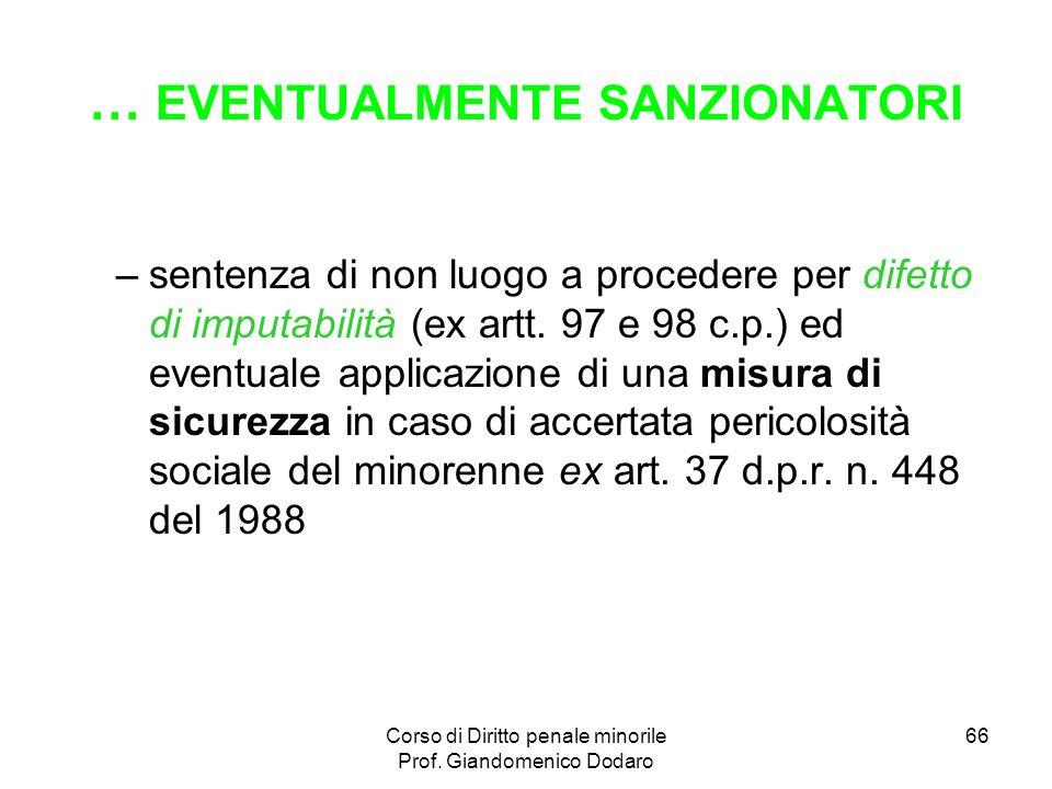 … EVENTUALMENTE SANZIONATORI