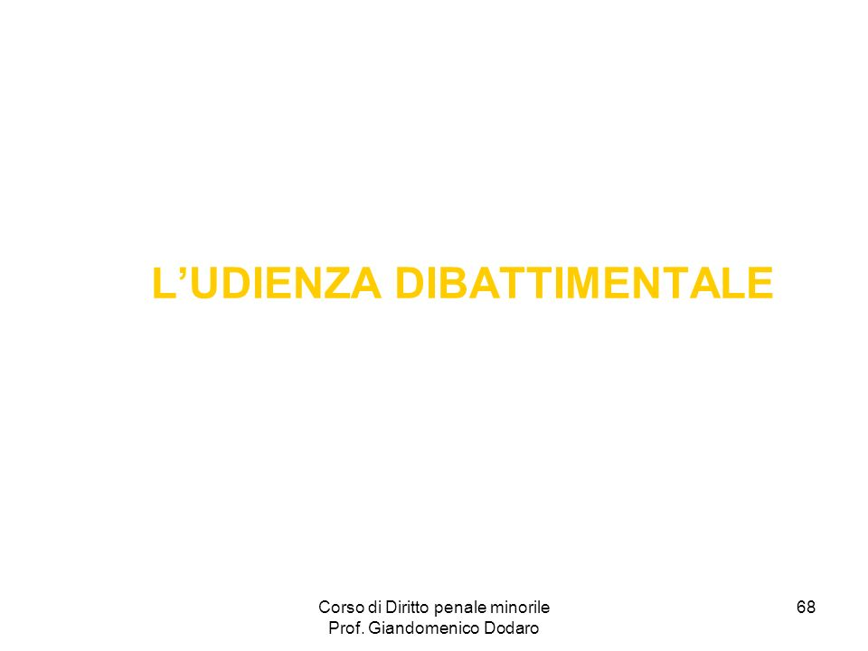 L'UDIENZA DIBATTIMENTALE