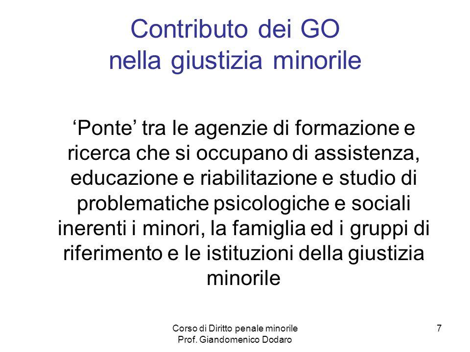 Contributo dei GO nella giustizia minorile