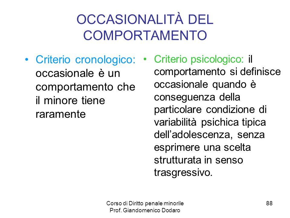 OCCASIONALITÀ DEL COMPORTAMENTO