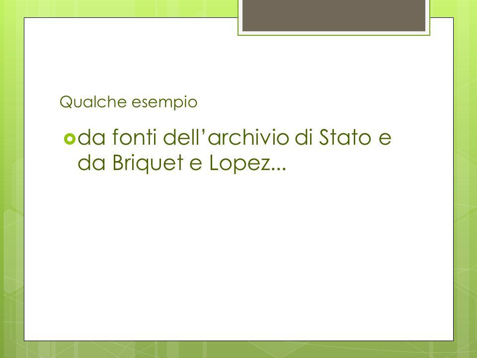da fonti dell'archivio di Stato e da Briquet e Lopez...
