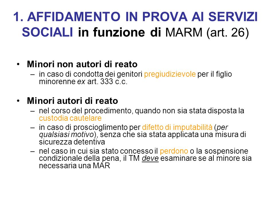 1. AFFIDAMENTO IN PROVA AI SERVIZI SOCIALI in funzione di MARM (art