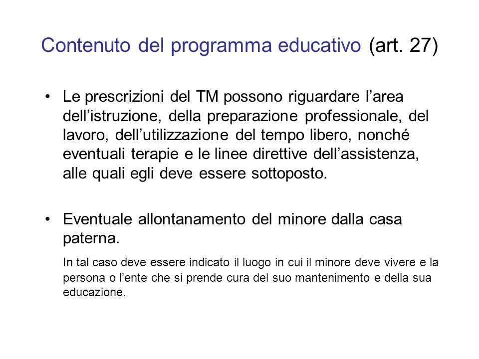 Contenuto del programma educativo (art. 27)