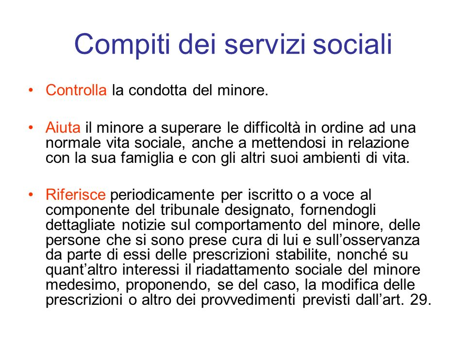 Compiti dei servizi sociali
