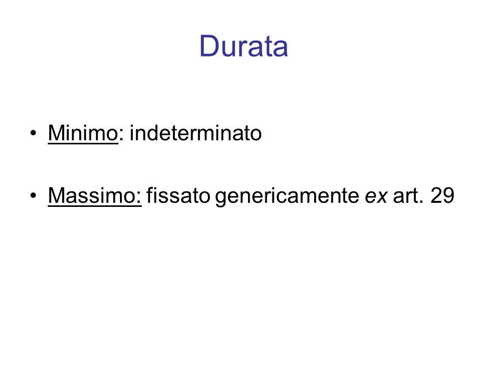 Durata Minimo: indeterminato Massimo: fissato genericamente ex art. 29