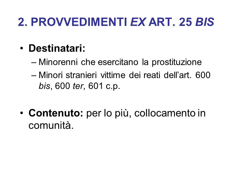 2. PROVVEDIMENTI EX ART. 25 BIS