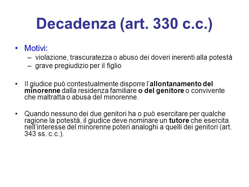 Decadenza (art. 330 c.c.) Motivi: