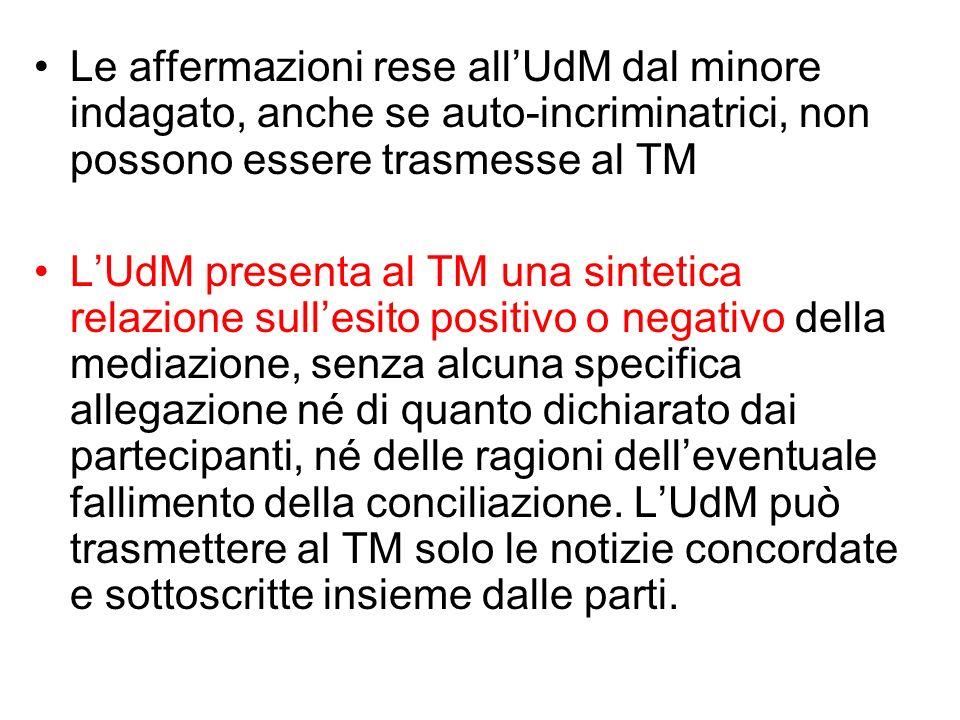 Le affermazioni rese all'UdM dal minore indagato, anche se auto-incriminatrici, non possono essere trasmesse al TM
