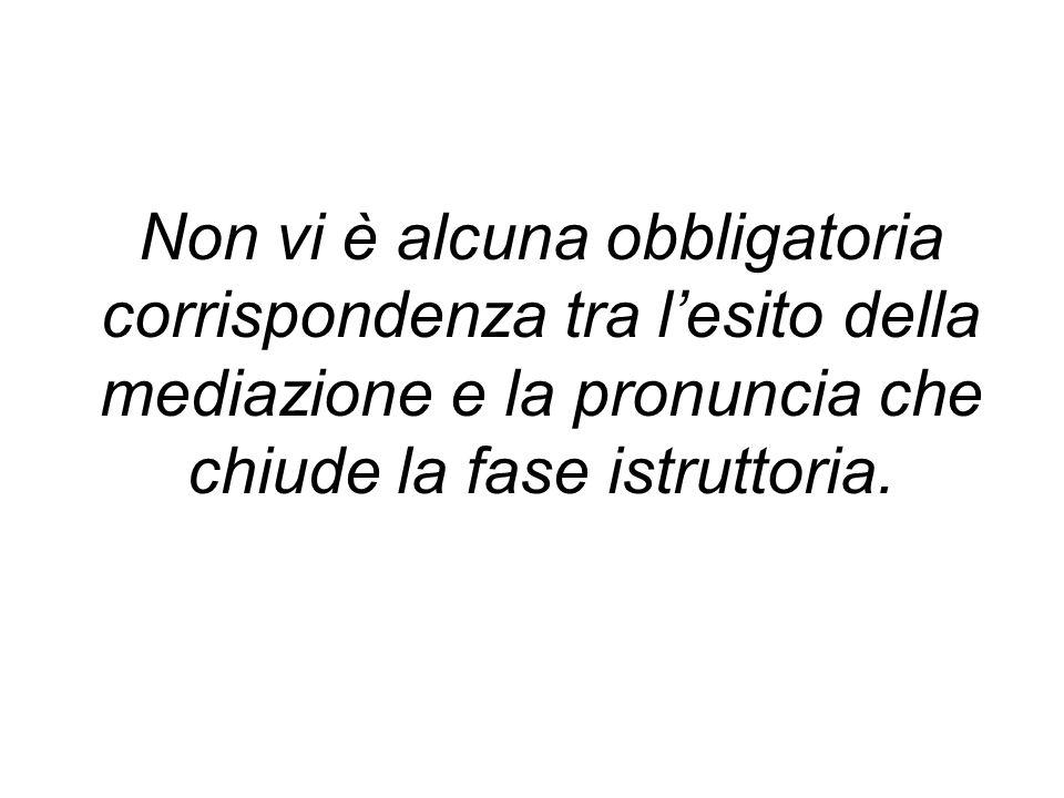 Non vi è alcuna obbligatoria corrispondenza tra l'esito della mediazione e la pronuncia che chiude la fase istruttoria.