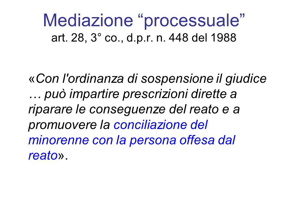 Mediazione processuale art. 28, 3° co., d.p.r. n. 448 del 1988