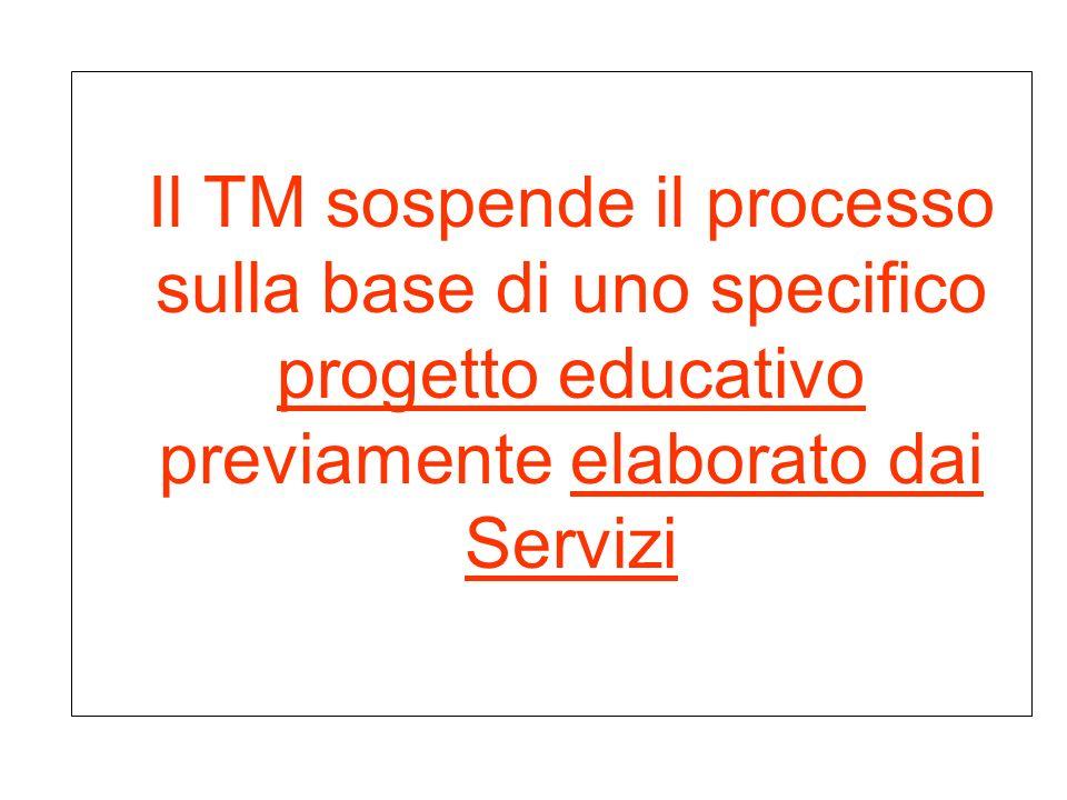Il TM sospende il processo sulla base di uno specifico progetto educativo previamente elaborato dai Servizi