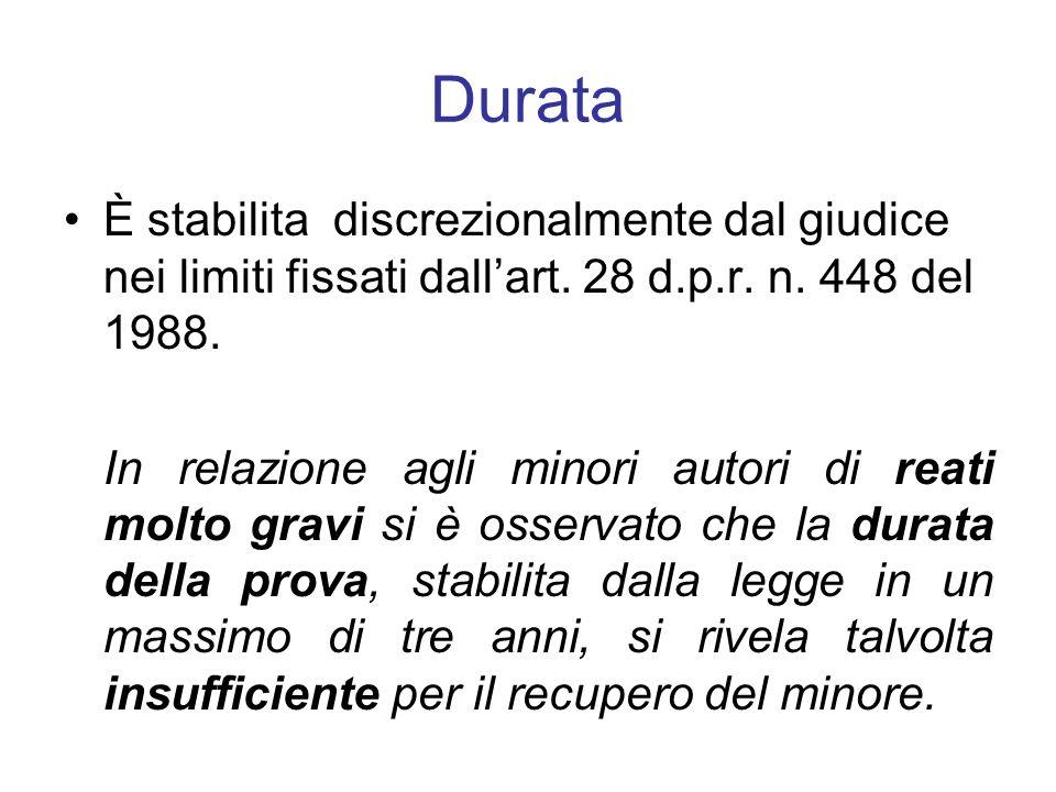 Durata È stabilita discrezionalmente dal giudice nei limiti fissati dall'art. 28 d.p.r. n. 448 del 1988.