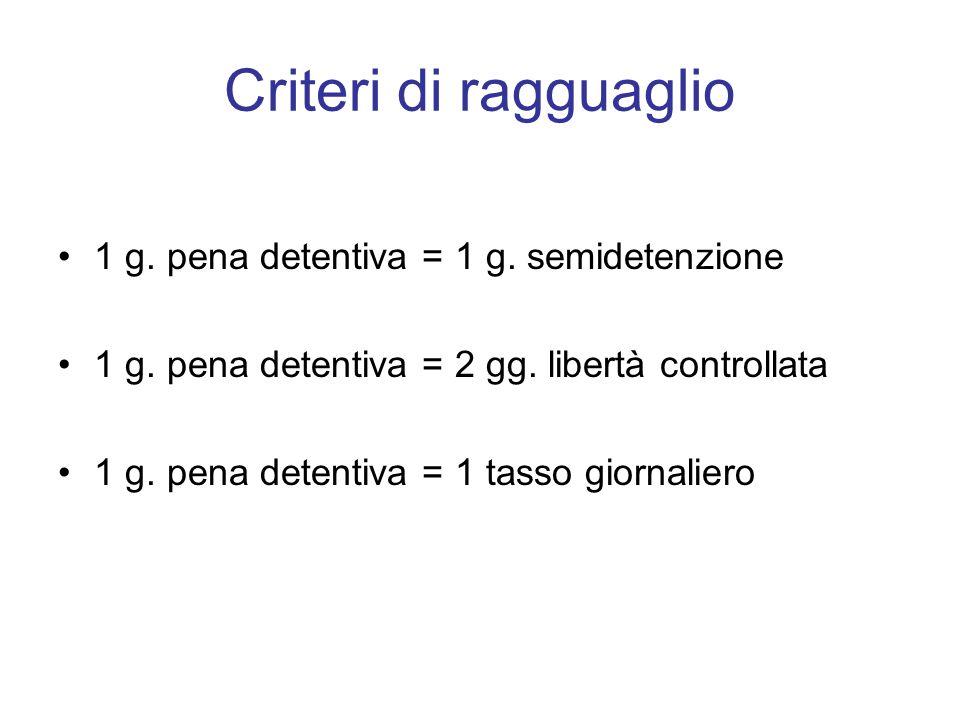 Criteri di ragguaglio 1 g. pena detentiva = 1 g. semidetenzione