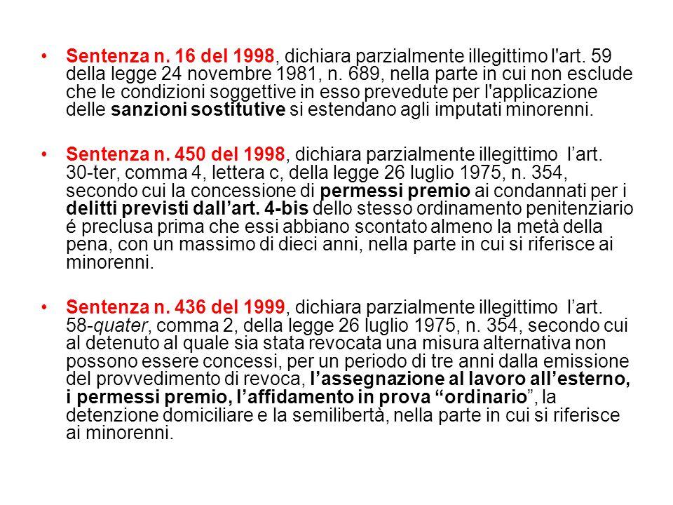 Sentenza n. 16 del 1998, dichiara parzialmente illegittimo l art