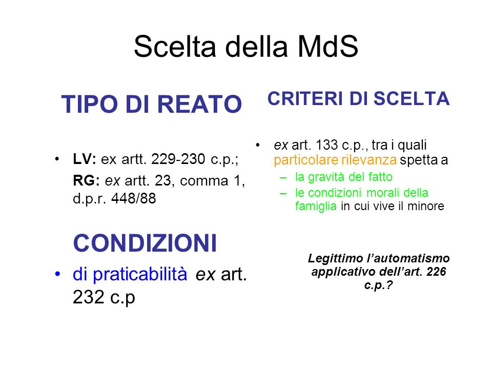 Legittimo l'automatismo applicativo dell'art. 226 c.p.