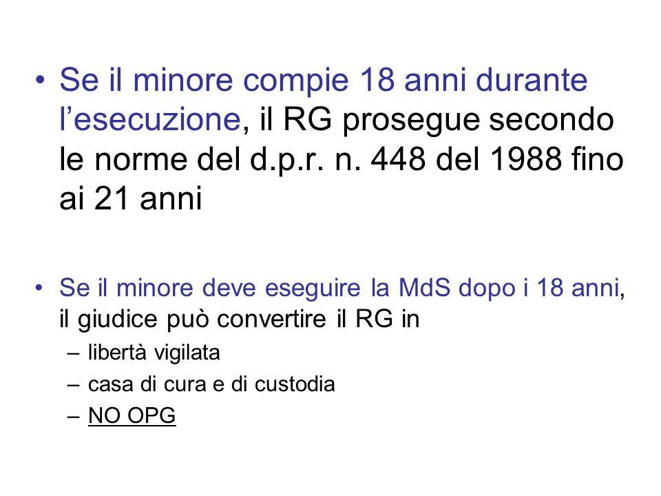 Se il minore compie 18 anni durante l'esecuzione, il RG prosegue secondo le norme del d.p.r. n. 448 del 1988 fino ai 21 anni
