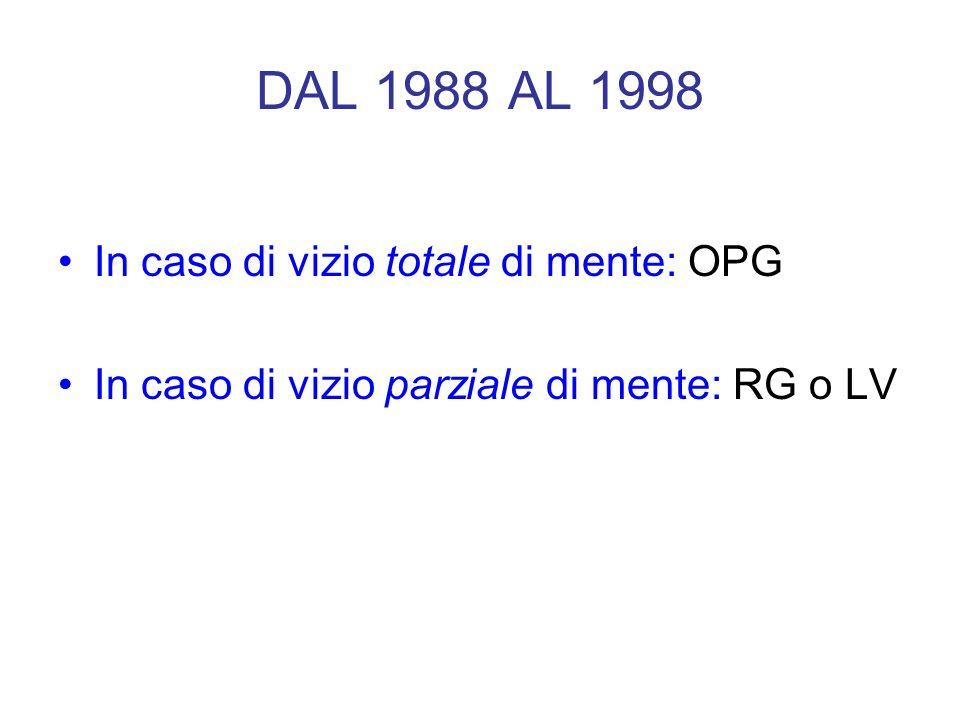 DAL 1988 AL 1998 In caso di vizio totale di mente: OPG