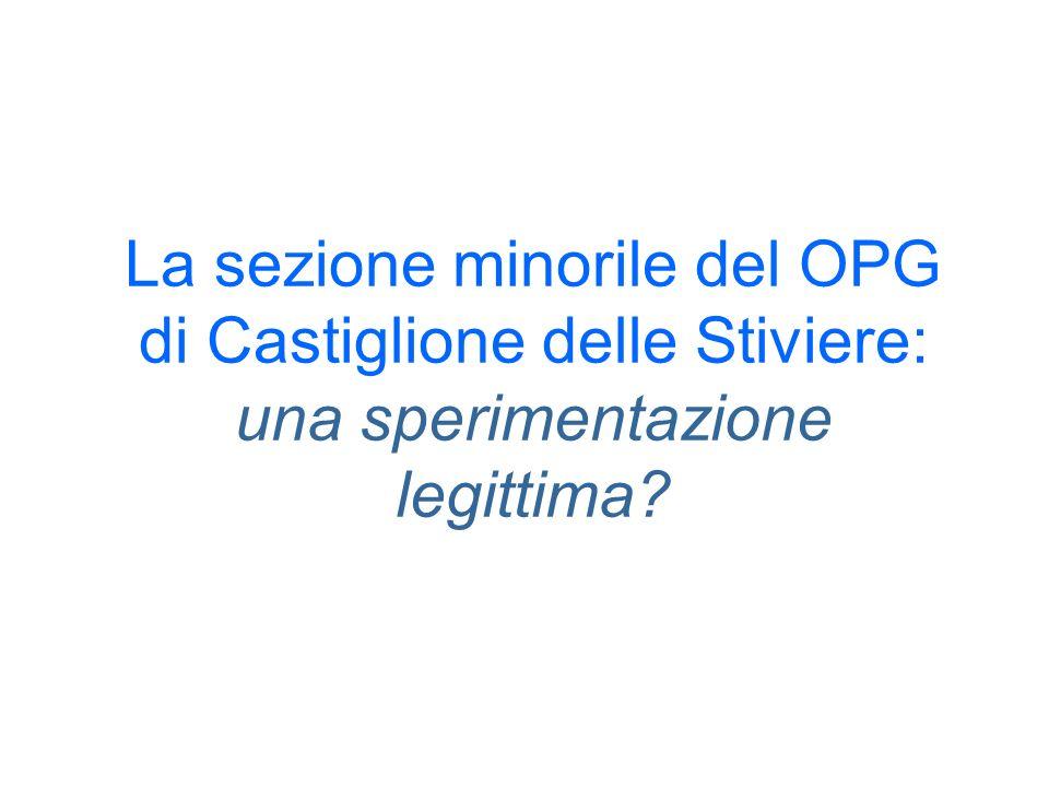 La sezione minorile del OPG di Castiglione delle Stiviere: una sperimentazione legittima
