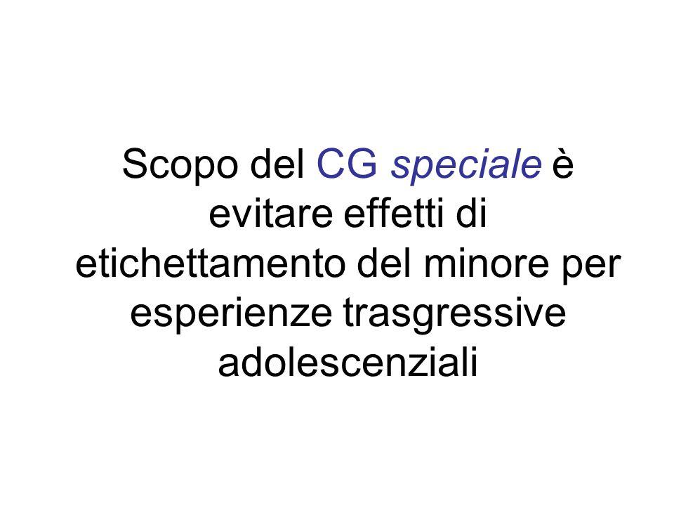 Scopo del CG speciale è evitare effetti di etichettamento del minore per esperienze trasgressive adolescenziali